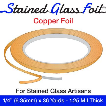 """12573-Stained Glass Foil Copper 1/4"""" 1.25 Mil"""