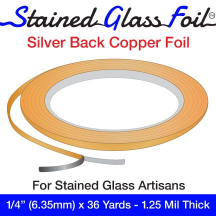 """12589-Stained Glass Foil Silver Back 1/4"""" 1.25 Mil"""