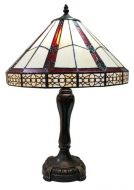 83141-Gothic Geometric Pattern Tiffany Stained Glass Shade & Lamp Base