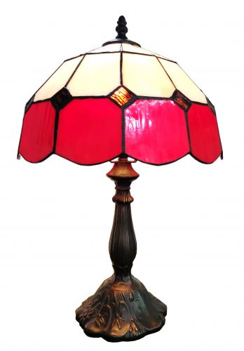 83115-Red Tiffany Stained Glass Shade & Lamp Base